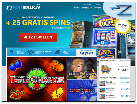 PayPal Casino PlayMillion Webseite